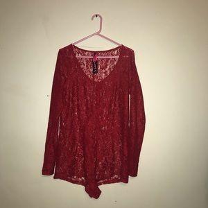 La Senza Red Lace Button Up Romper
